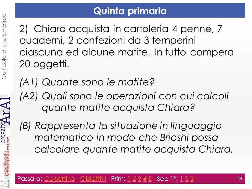 Quinta primaria 2) Chiara acquista in cartoleria 4 penne, 7 quaderni, 2 confezioni da 3 temperini ciascuna ed alcune matite.