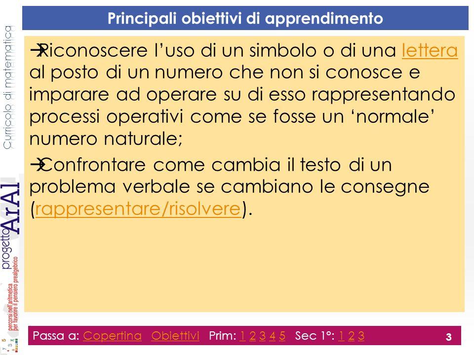 Principali obiettivi di apprendimento Riconoscere luso di un simbolo o di una lettera al posto di un numero che non si conosce e imparare ad operare su di esso rappresentando processi operativi come se fosse un normale numero naturale;lettera Confrontare come cambia il testo di un problema verbale se cambiano le consegne (rappresentare/risolvere).rappresentare/risolvere Passa a: Copertina Obiettivi Prim: 1 2 3 4 5 Sec 1°: 1 2 3CopertinaObiettivi12345123 3