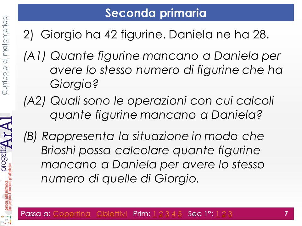 Seconda primaria 2) Giorgio ha 42 figurine. Daniela ne ha 28.