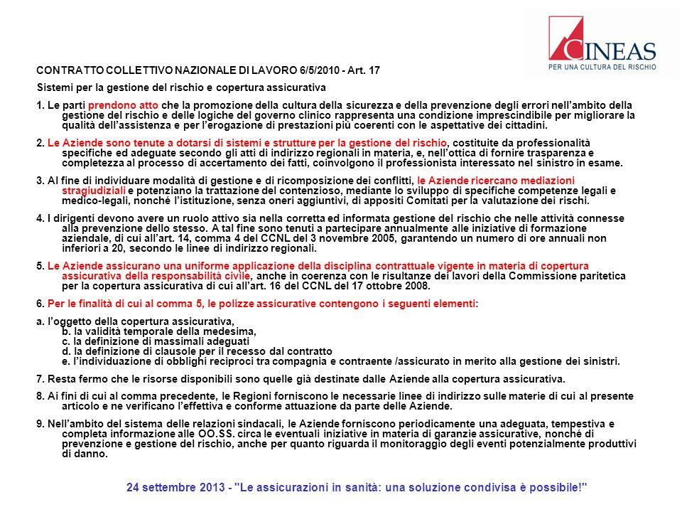 24 settembre 2013 - Le assicurazioni in sanità: una soluzione condivisa è possibile! CONTRATTO COLLETTIVO NAZIONALE DI LAVORO 6/5/2010 - Art.