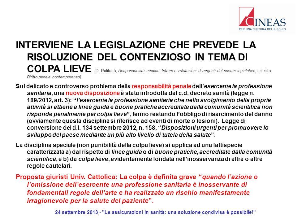 24 settembre 2013 - Le assicurazioni in sanità: una soluzione condivisa è possibile! INTERVIENE LA LEGISLAZIONE CHE PREVEDE LA RISOLUZIONE DEL CONTENZIOSO IN TEMA DI COLPA LIEVE (D.