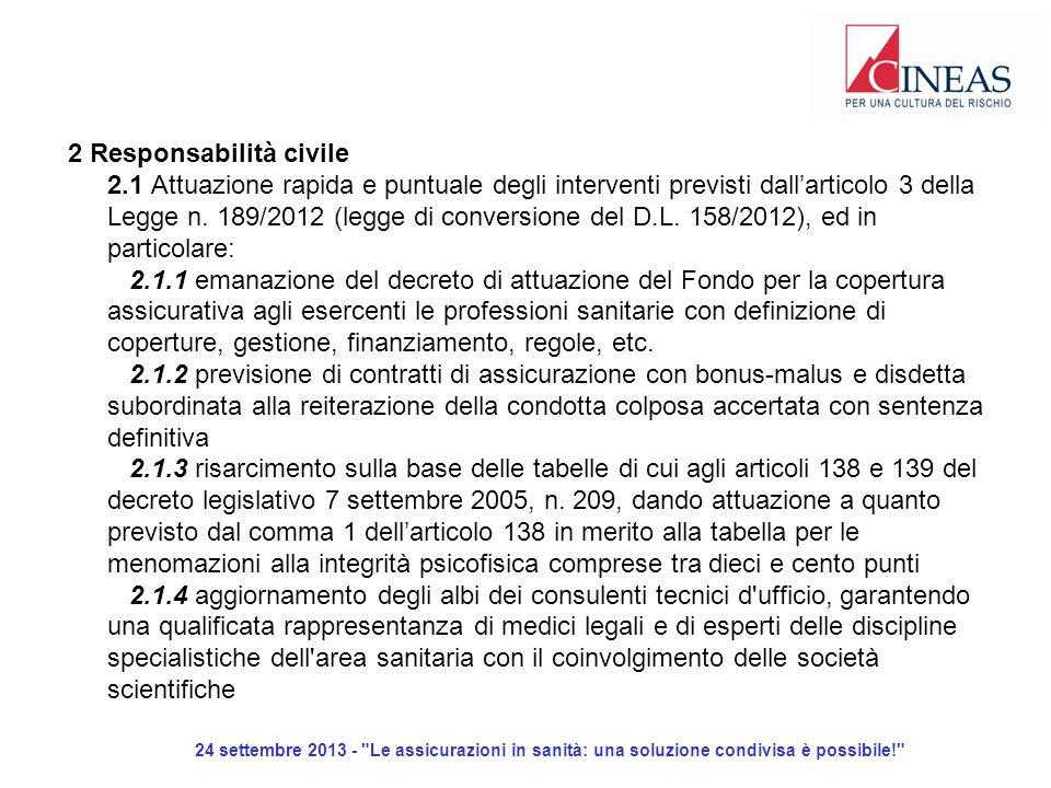 24 settembre 2013 - Le assicurazioni in sanità: una soluzione condivisa è possibile! 2 Responsabilità civile 2.1 Attuazione rapida e puntuale degli interventi previsti dallarticolo 3 della Legge n.