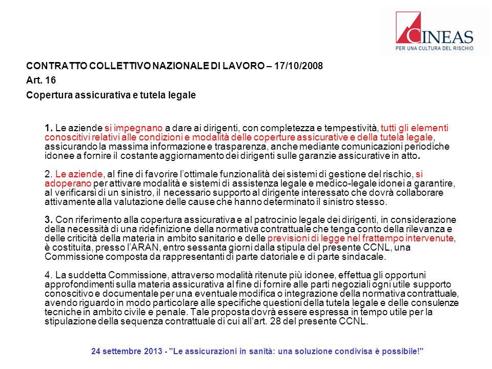 24 settembre 2013 - Le assicurazioni in sanità: una soluzione condivisa è possibile! CONTRATTO COLLETTIVO NAZIONALE DI LAVORO – 17/10/2008 Art.