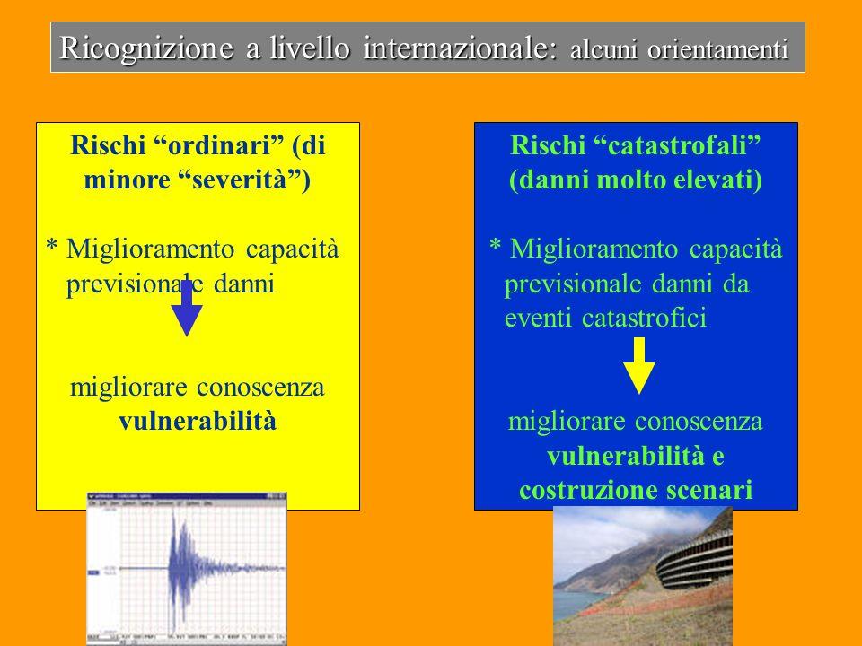 Ricognizione a livello internazionale: alcuni orientamenti Rischi ordinari (di minore severità) * Miglioramento capacità previsionale danni migliorare