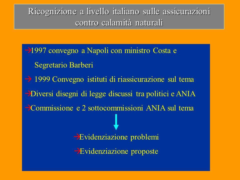Ricognizione a livello italiano sulle assicurazioni contro calamità naturali 1997 convegno a Napoli con ministro Costa e Segretario Barberi 1999 Conve