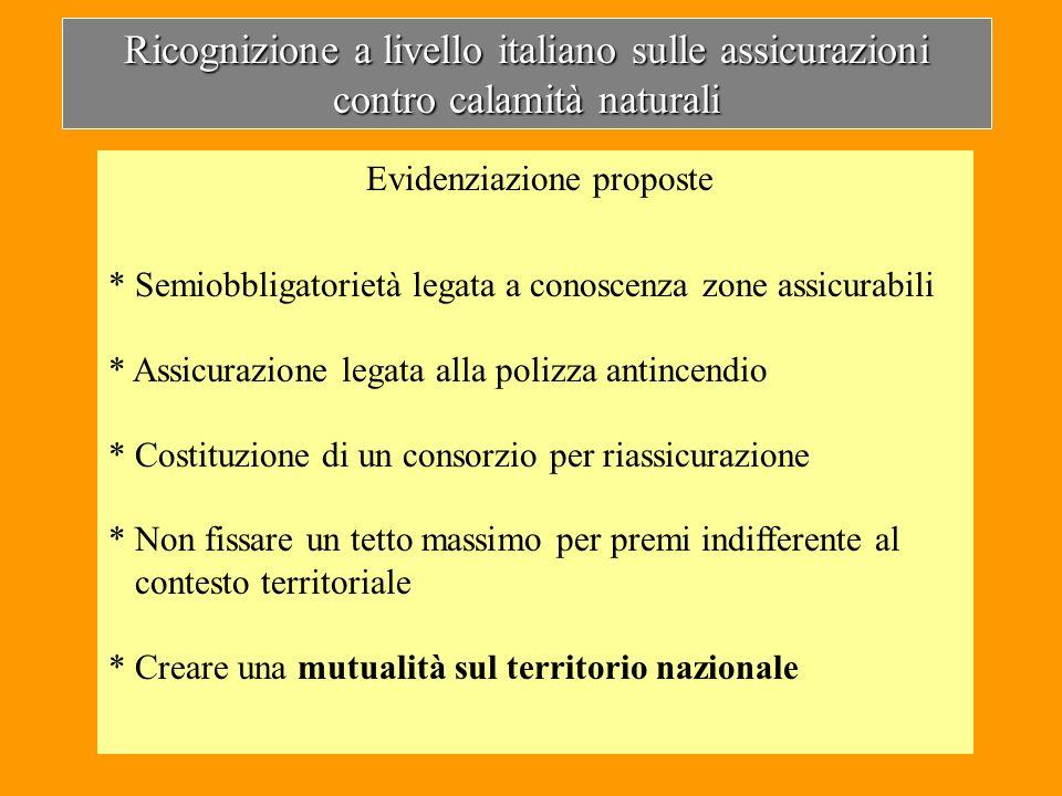 Ricognizione a livello italiano sulle assicurazioni contro calamità naturali Evidenziazione proposte * Semiobbligatorietà legata a conoscenza zone ass