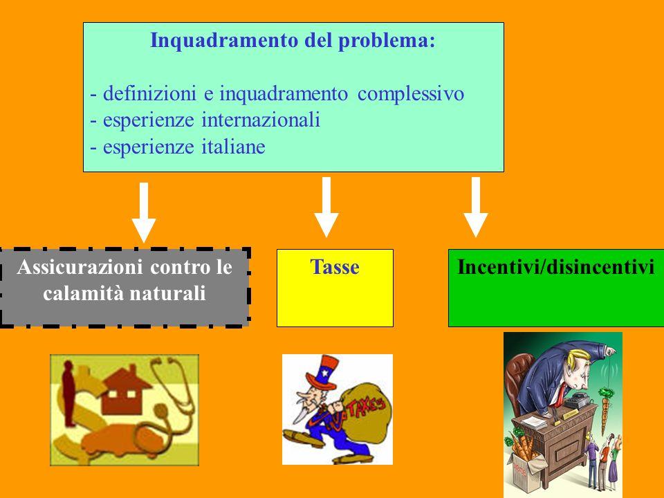 Inquadramento del problema: - definizioni e inquadramento complessivo - esperienze internazionali - esperienze italiane Assicurazioni contro le calami