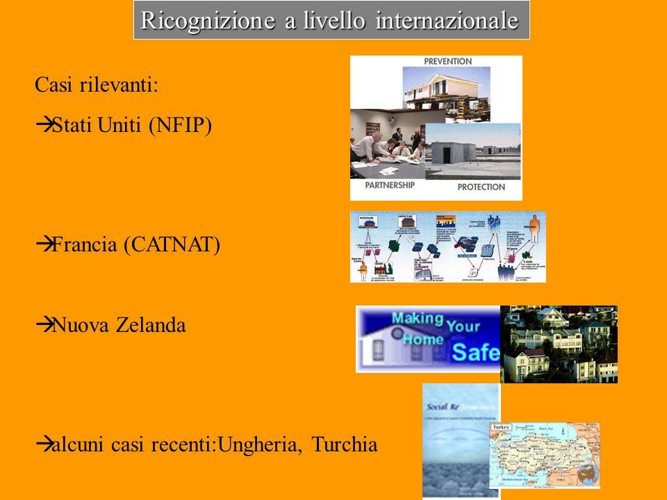 Ricognizione a livello internazionale Casi rilevanti: Stati Uniti (NFIP) Francia (CATNAT) Nuova Zelanda alcuni casi recenti:Ungheria, Turchia