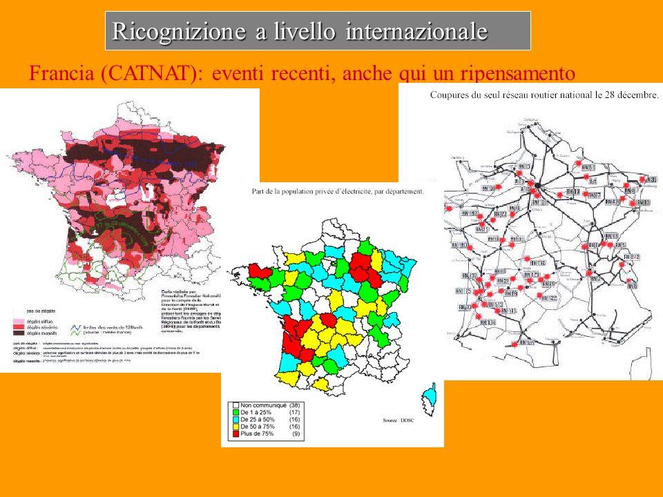Ricognizione a livello internazionale Francia (CATNAT): eventi recenti, anche qui un ripensamento