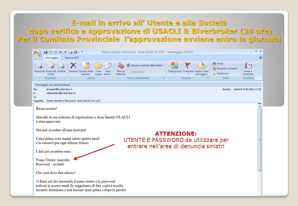 E-mail in arrivo all Utente e alla Società dopo verifica e approvazione di USACLI & Biverbroker (24 ore) dopo verifica e approvazione di USACLI & Bive