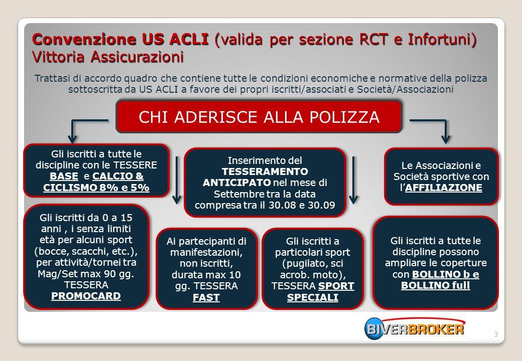 Convenzione US ACLI (valida per sezione RCT e Infortuni) Vittoria Assicurazioni Trattasi di accordo quadro che contiene tutte le condizioni economiche