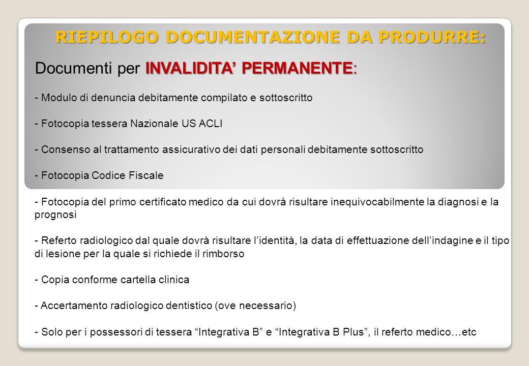 RIEPILOGO DOCUMENTAZIONE DA PRODURRE: INVALIDITA PERMANENTE: Documenti per INVALIDITA PERMANENTE: - Modulo di denuncia debitamente compilato e sottosc