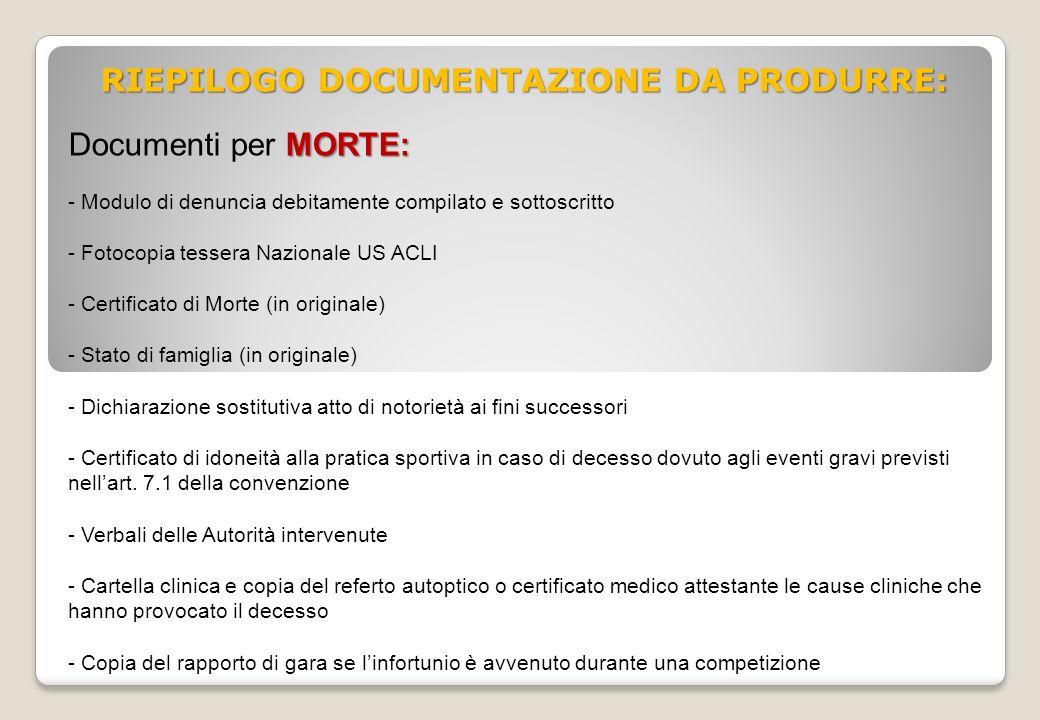RIEPILOGO DOCUMENTAZIONE DA PRODURRE: MORTE: Documenti per MORTE: - Modulo di denuncia debitamente compilato e sottoscritto - Fotocopia tessera Nazion