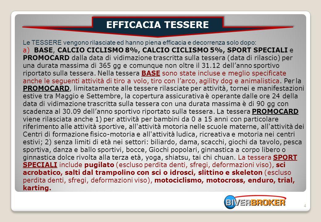 4 Le TESSERE vengono rilasciate ed hanno piena efficacia e decorrenza solo dopo: a) BASE, CALCIO CICLISMO 8%, CALCIO CICLISMO 5%, SPORT SPECIALI e PRO