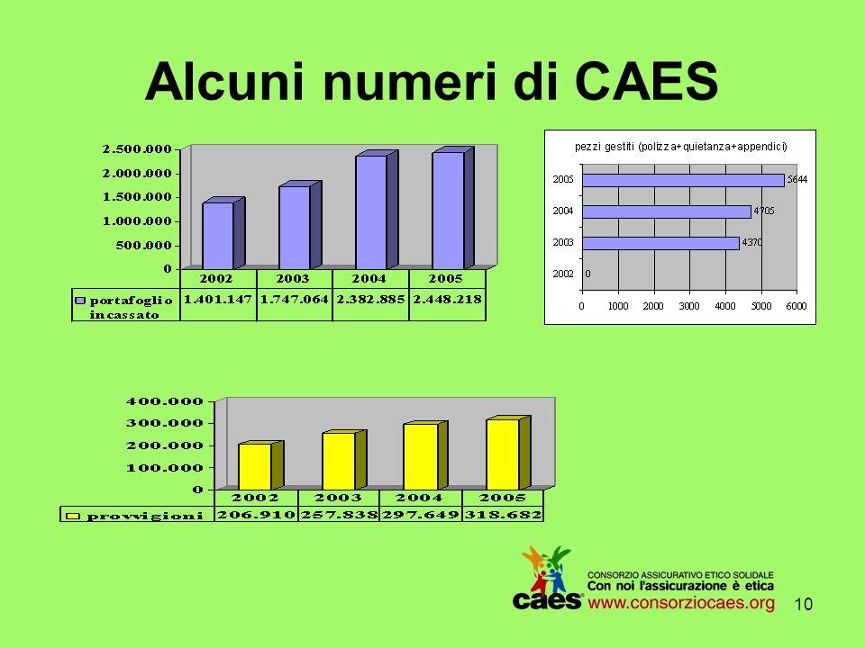 9 I settori di azione di CAES Linea non profit rappresenta il primario mercato di sbocco dellofferta assicurativa ed è strettamente legata alla composizione della base sociale ed, in particolar modo, alla mission.