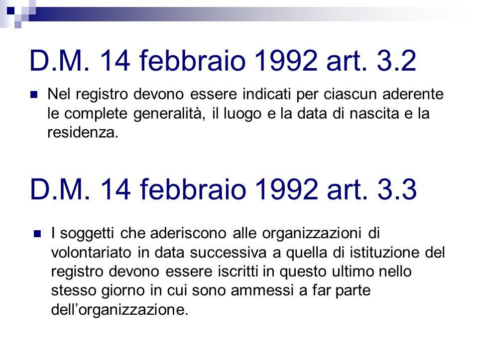 D.M. 14 febbraio 1992 art. 3.2 Nel registro devono essere indicati per ciascun aderente le complete generalità, il luogo e la data di nascita e la res