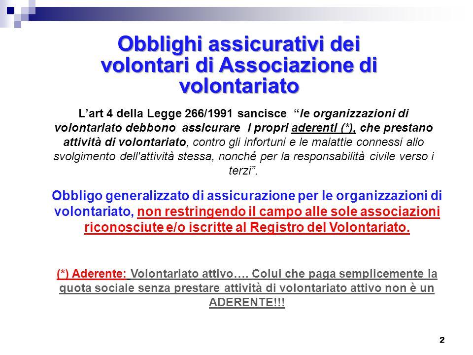 Lart 4 della Legge 266/1991 sancisce le organizzazioni di volontariato debbono assicurare i propri aderenti (*), che prestano attività di volontariato