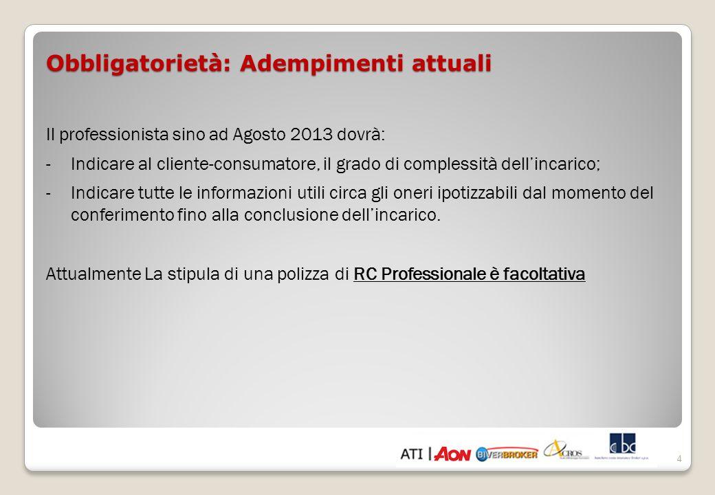 Obbligatorietà: Adempimenti dal 14 Agosto 2013 -Polizza assicurativa personale per la Responsabilità Civile Professionale per tutti gli iscritti ad un Ordine o Collegio.