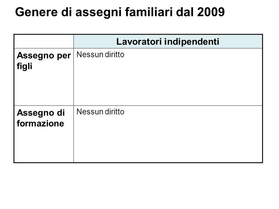 Genere di assegni familiari dal 2009 Lavoratori indipendenti Assegno per figli Nessun diritto Assegno di formazione Nessun diritto
