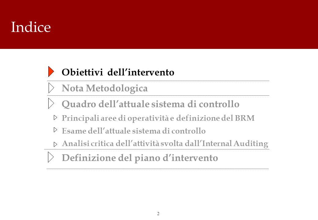 2 Indice Obiettivi dellintervento Nota Metodologica Quadro dellattuale sistema di controllo Principali aree di operatività e definizione del BRM Esame