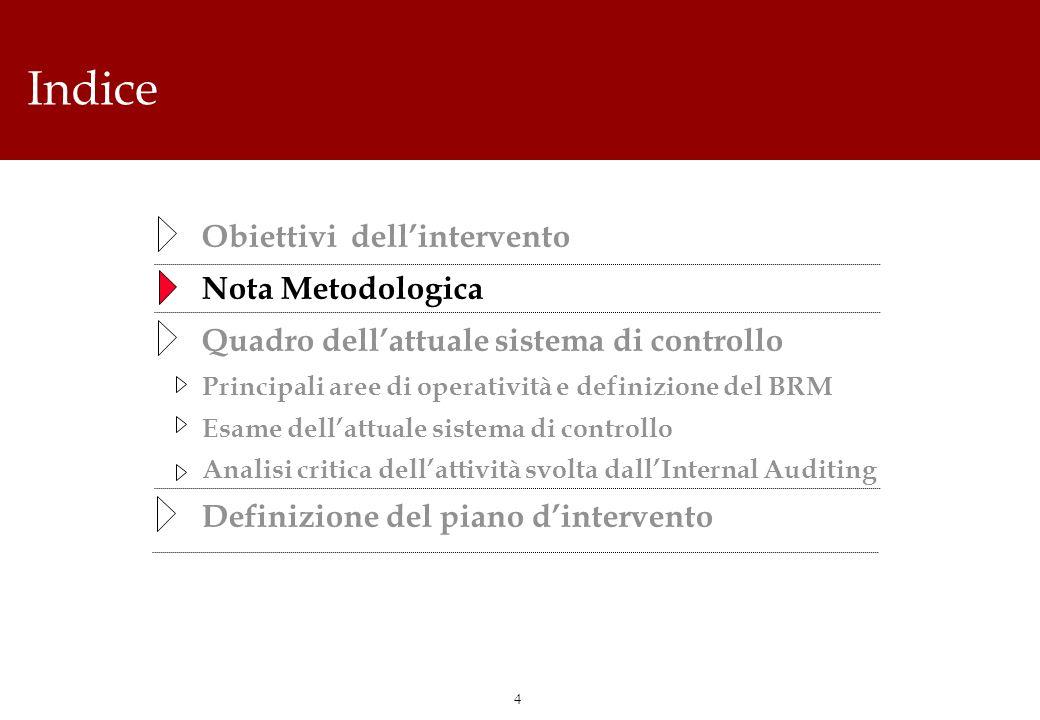 4 Indice Obiettivi dellintervento Nota Metodologica Quadro dellattuale sistema di controllo Principali aree di operatività e definizione del BRM Esame