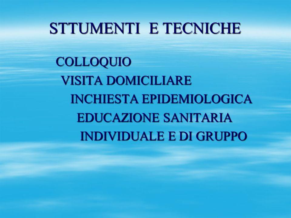 STTUMENTI E TECNICHE COLLOQUIO COLLOQUIO VISITA DOMICILIARE VISITA DOMICILIARE INCHIESTA EPIDEMIOLOGICA INCHIESTA EPIDEMIOLOGICA EDUCAZIONE SANITARIA