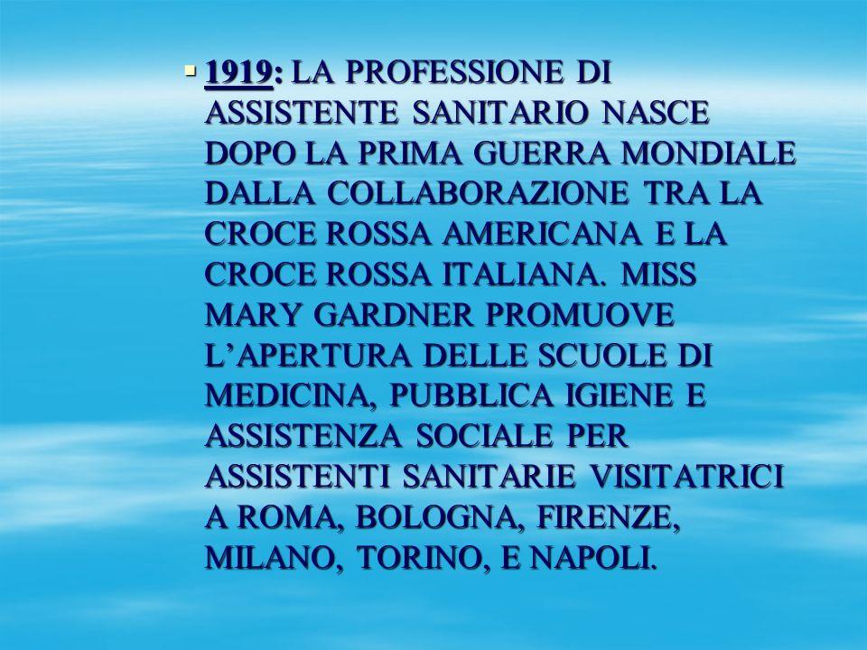 1920: LE SCUOLE HANNO LA FINALITA DI COSTRUIRE UN CORPO DI ASSITENTI SANITARIE AVENTI IL COMPITO DI RICERCARE, FIN DAI PRIMI SINTOMI, TRA IL POPOLO, LE MALATTIE E DI PREVENIRE LA DIFFUSIONE PER MEZZO DI INSEGNAMENTI PRATICI DI PROFILASSI E DI IGIENE.
