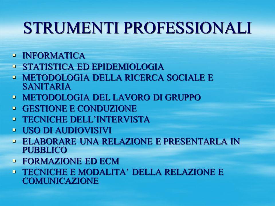 STRUMENTI PROFESSIONALI INFORMATICA INFORMATICA STATISTICA ED EPIDEMIOLOGIA STATISTICA ED EPIDEMIOLOGIA METODOLOGIA DELLA RICERCA SOCIALE E SANITARIA