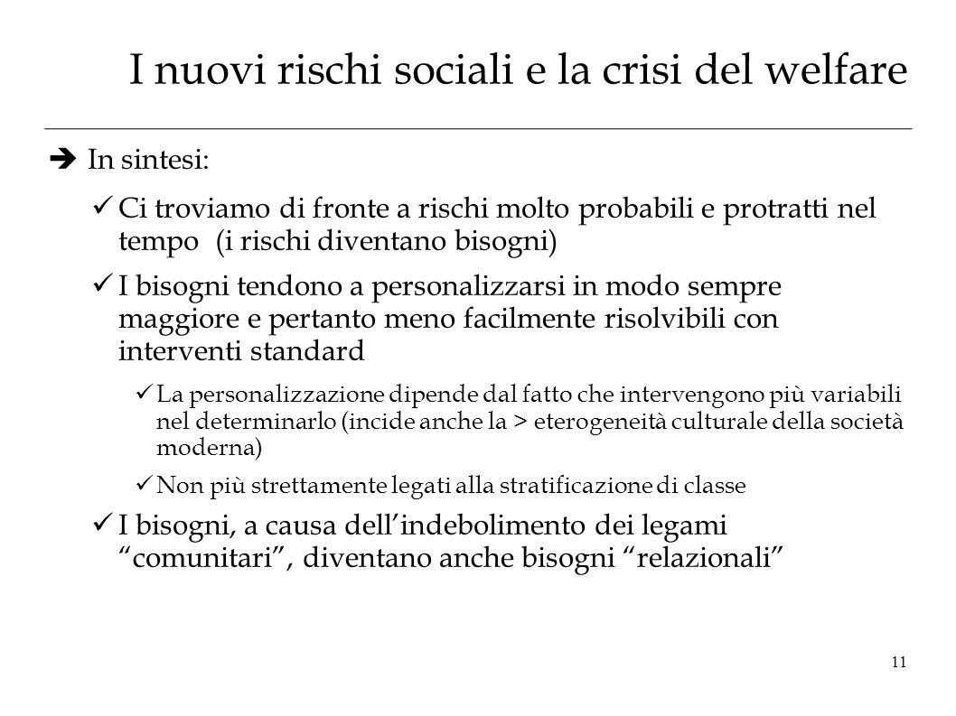 I nuovi rischi sociali e la crisi del welfare In sintesi: Ci troviamo di fronte a rischi molto probabili e protratti nel tempo (i rischi diventano bis