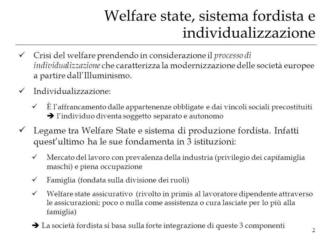 Welfare state, sistema fordista e individualizzazione Crisi del welfare prendendo in considerazione il processo di individualizzazione che caratterizz