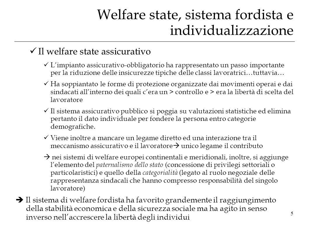Welfare state, sistema fordista e individualizzazione Il welfare state assicurativo Limpianto assicurativo-obbligatorio ha rappresentato un passo impo