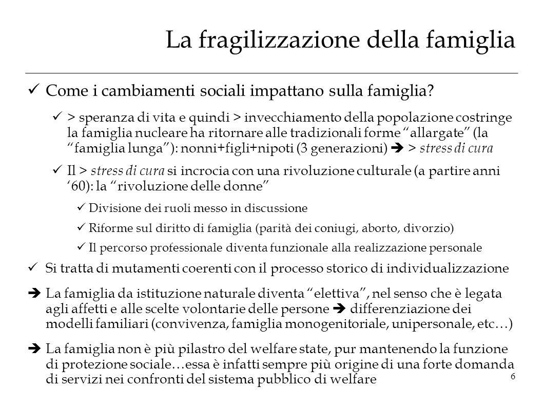 La fragilizzazione della famiglia Come i cambiamenti sociali impattano sulla famiglia? > speranza di vita e quindi > invecchiamento della popolazione