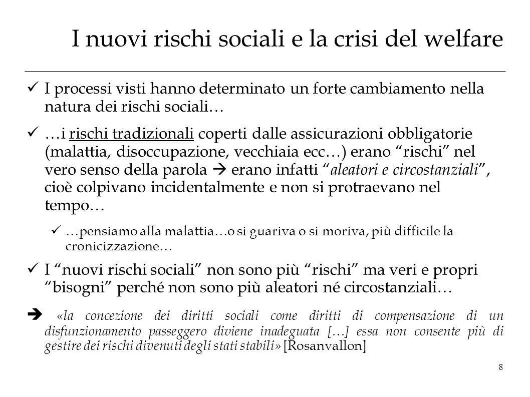 I nuovi rischi sociali e la crisi del welfare I processi visti hanno determinato un forte cambiamento nella natura dei rischi sociali… …i rischi tradi