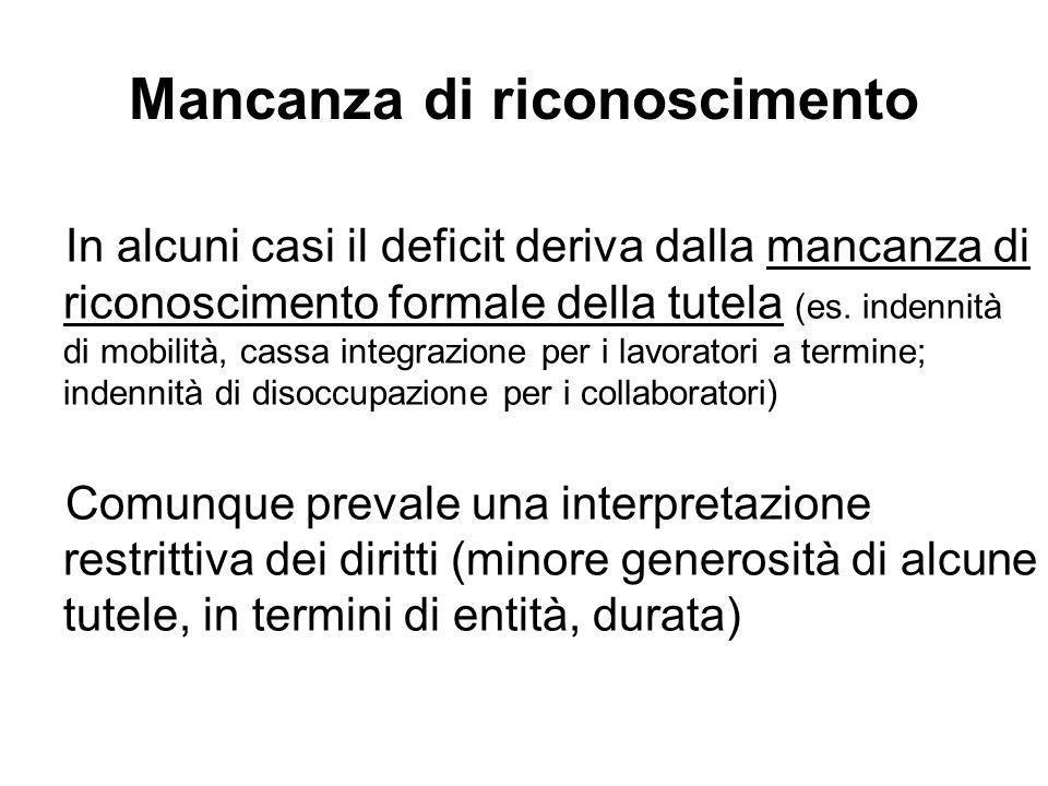 Mancanza di riconoscimento In alcuni casi il deficit deriva dalla mancanza di riconoscimento formale della tutela (es.
