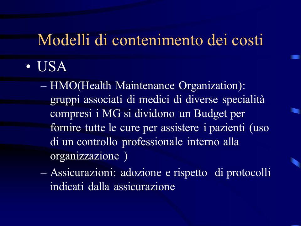 Modelli di contenimento dei costi USA –HMO(Health Maintenance Organization): gruppi associati di medici di diverse specialità compresi i MG si dividon