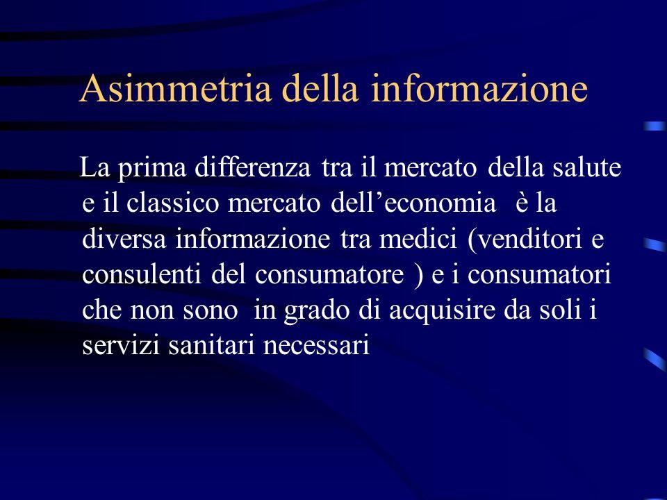 Asimmetria della informazione La prima differenza tra il mercato della salute e il classico mercato delleconomia è la diversa informazione tra medici (venditori e consulenti del consumatore ) e i consumatori che non sono in grado di acquisire da soli i servizi sanitari necessari