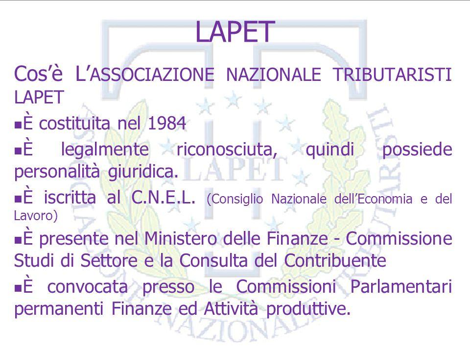 3 LAPET Struttura organizzativa Sede nazionale con 20 delegazioni regionali ed oltre 104 sedi provinciali