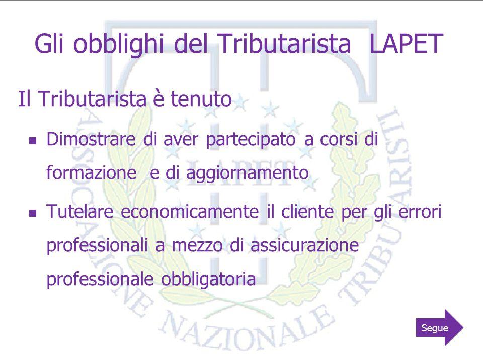 8 Gli obblighi del Tributarista LAPET Il Tributarista è tenuto Osservare il codice deontologico LAPET A rispettare e collaborare con le autorità preposte per il rispetto delle norme antiriciclaggio Informare i clienti delle disposizioni sulla privacy