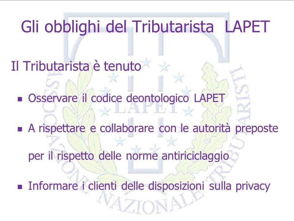9 IL TRIBUTARISTA E LA LAPET Il Tributarista LAPET può: farsi certificare la qualità professionale osservazione tariffario