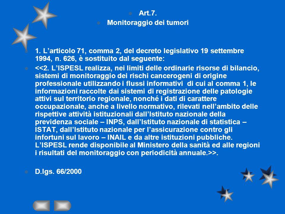 Art.7. Monitoraggio dei tumori 1. Larticolo 71, comma 2, del decreto legislativo 19 settembre 1994, n. 626, è sostituito dal seguente: >. D.lgs. 66/20