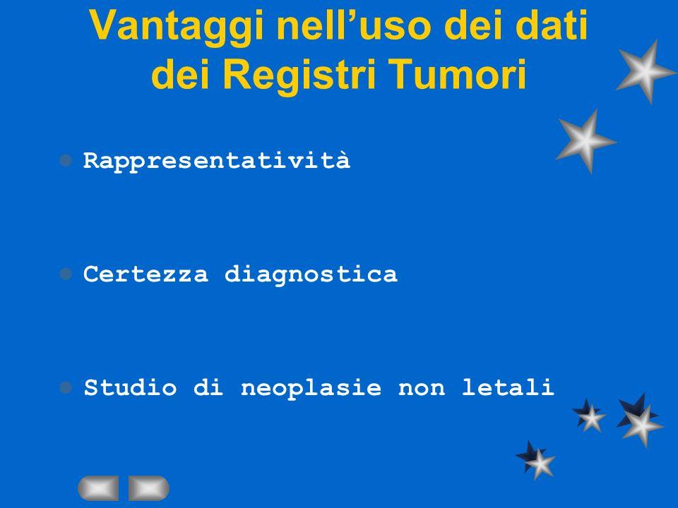 Vantaggi nelluso dei dati dei Registri Tumori Rappresentatività Certezza diagnostica Studio di neoplasie non letali