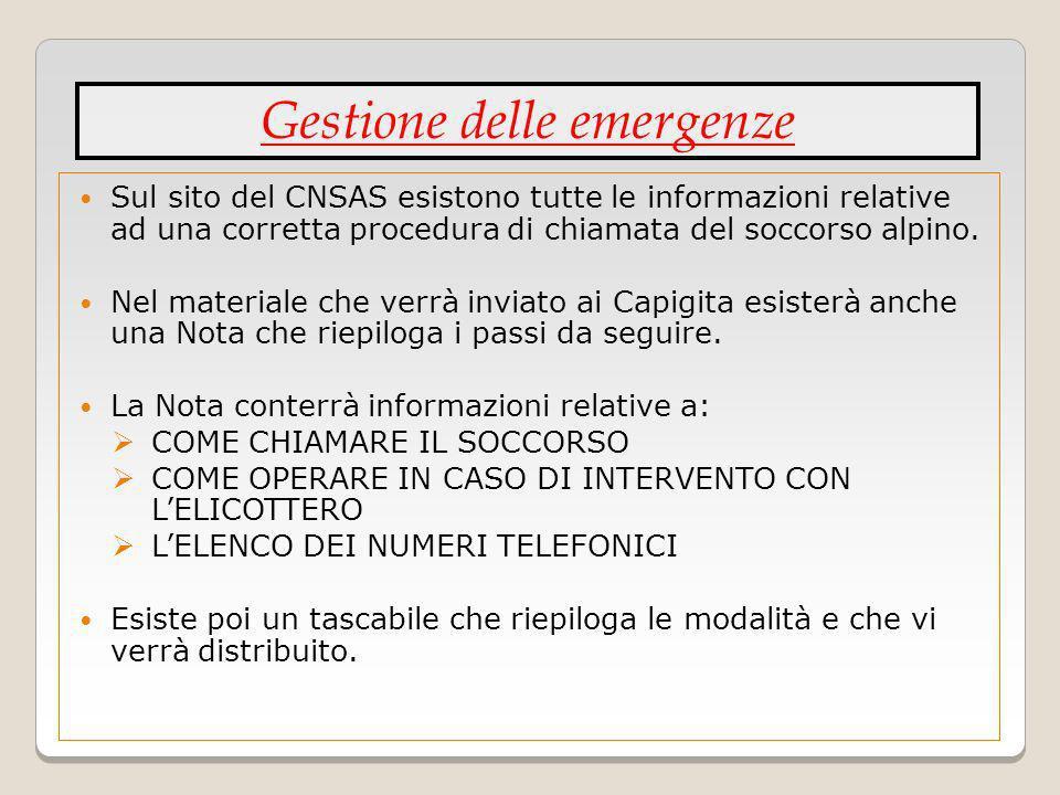 Sul sito del CNSAS esistono tutte le informazioni relative ad una corretta procedura di chiamata del soccorso alpino. Nel materiale che verrà inviato