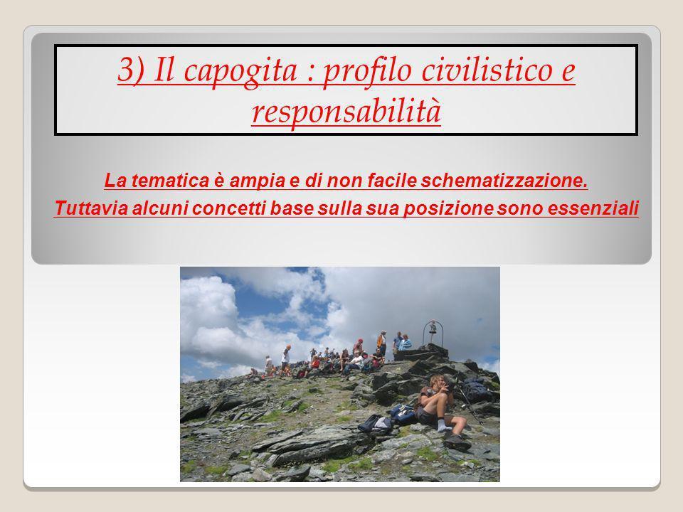 3) Il capogita : profilo civilistico e responsabilità La tematica è ampia e di non facile schematizzazione. Tuttavia alcuni concetti base sulla sua po