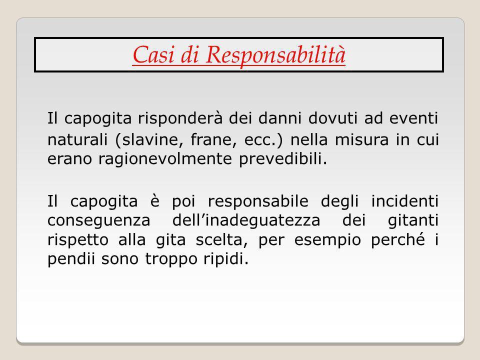 Il capogita risponderà dei danni dovuti ad eventi naturali (slavine, frane, ecc.) nella misura in cui erano ragionevolmente prevedibili. Il capogita è