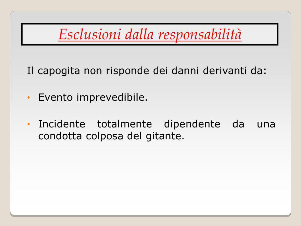 Il capogita non risponde dei danni derivanti da: Evento imprevedibile. Incidente totalmente dipendente da una condotta colposa del gitante. Esclusioni