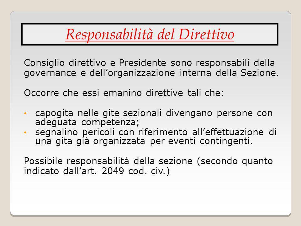 Consiglio direttivo e Presidente sono responsabili della governance e dellorganizzazione interna della Sezione. Occorre che essi emanino direttive tal