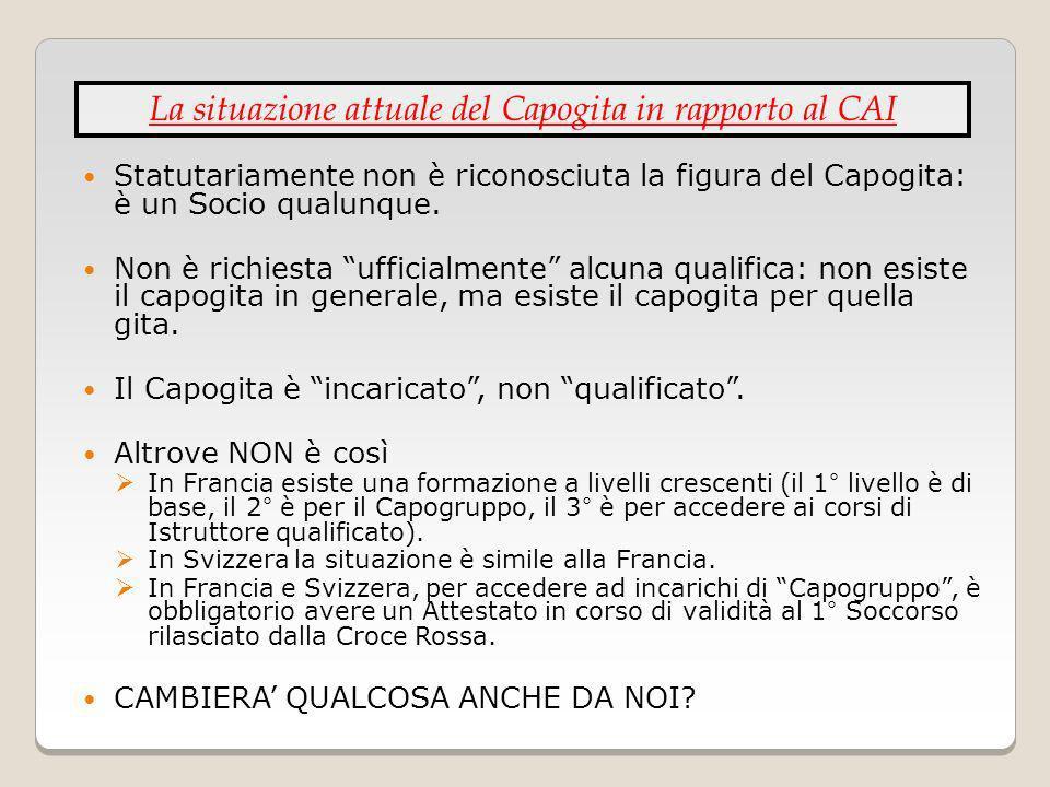 Statutariamente non è riconosciuta la figura del Capogita: è un Socio qualunque. Non è richiesta ufficialmente alcuna qualifica: non esiste il capogit