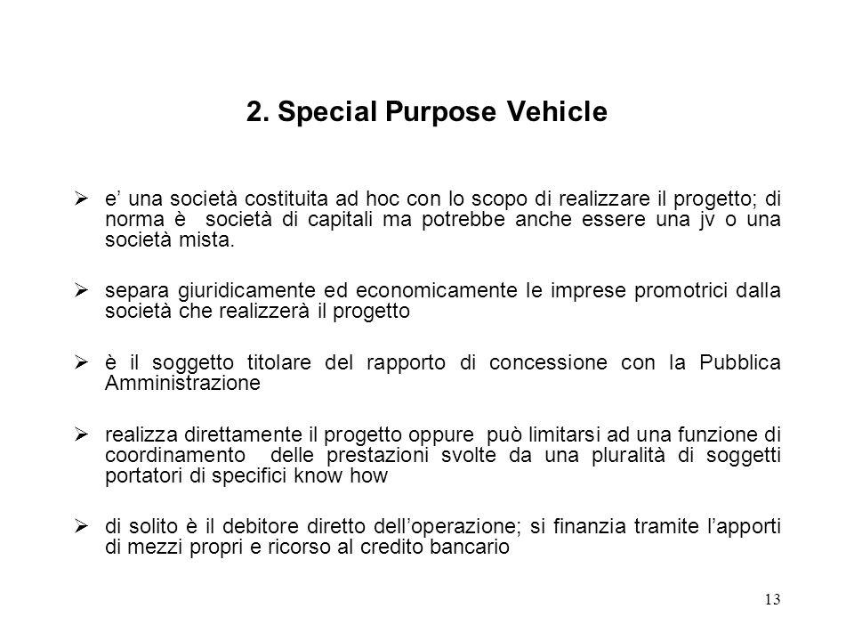 13 2. Special Purpose Vehicle e una società costituita ad hoc con lo scopo di realizzare il progetto; di norma è società di capitali ma potrebbe anche