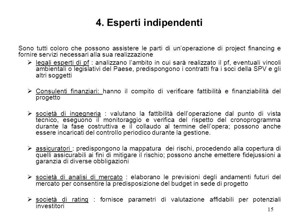 15 4. Esperti indipendenti Sono tutti coloro che possono assistere le parti di unoperazione di project financing e fornire servizi necessari alla sua