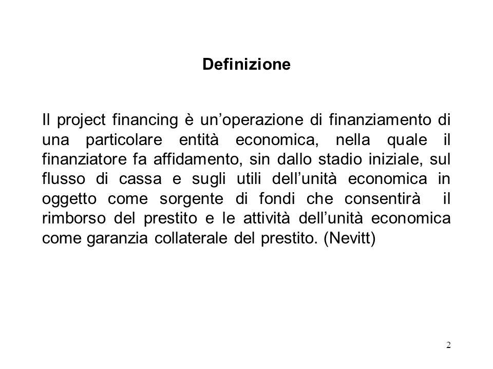 2 Definizione Il project financing è unoperazione di finanziamento di una particolare entità economica, nella quale il finanziatore fa affidamento, si